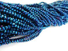Cristal checo 4 mm, color azul metálico , tira con 150 piezas, $22.00, Precio especial a mayoristas. CÓDIGO: CC4032