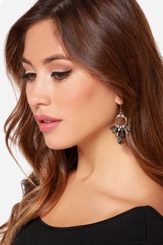 The Fire Dancer Grey Rhinestone Earrings put on quite the show with sparkling clear and grey rhinestones in a burnished gold setting! Rhinestone Earrings, Statement Earrings, Dangle Earrings, Fire Dancer, Natural Eye Makeup, Simply Beautiful, Gold Rings, Dangles, Faces