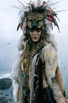 tribal headdress  leopard wild cat furs feathers craft