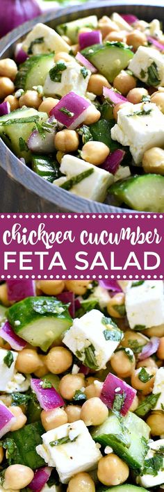 Mediterranean Diet Meal Plans : This Chickpea Cucumber Feta Salad has ALL the best flavors! Loaded with chickpeas, cucumbers, red onions, feta cheese, and fresh basil.this salad is so easy to make and is the perfect side dish for any meal!
