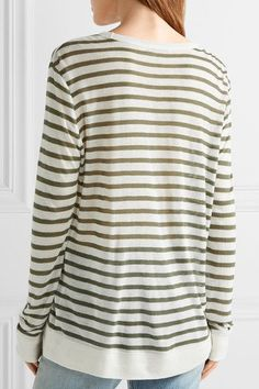 T by Alexander Wang - Striped Jersey Top - Army green - medium
