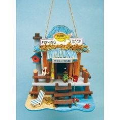 Ocean Hideaway Fish Lodge Wood Birdhouse ** Details on product can be viewed by clicking the image