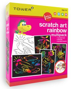 Enjoy all your favourite designs in one pack! These multipacks are the ultimate 'edutainment' product that will keep kids entertained for hours while having fun learning! Office Organisation, Scratch Art, Fun Learning, Your Favorite, South Africa, Have Fun, Arts And Crafts, Tower, Rainbow