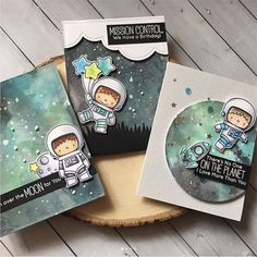 ***Scroll for close ups! I hope you are not sick of seeing my space cards! I absolutely adore these space theme sets. Backgrounds were done with Distress inks and oxides! Boy Cards, Kids Cards, Cute Cards, Tag Png, Interactive Cards, Mft Stamps, Space Theme, Card Making Inspiration, Card Maker