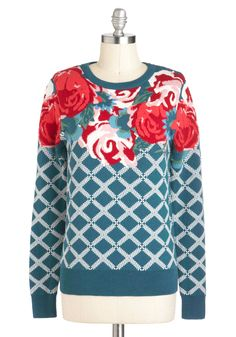 Trellis Is More Sweater - Cotton, Mid-length, Floral, Novelty Print, Print, Top Rated
