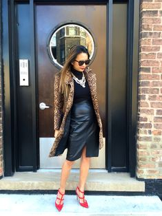 www.streetstylecity.blogspot.com Be inspired by the people in the street Leopard jacket and Bailey44 Dress