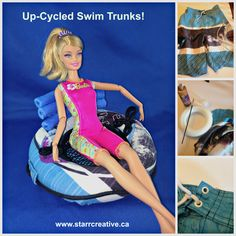 DIY Up-cycle Float tube for Barbie Doll made from old swim trunks and foam curlers Diy Doll Projects, Doll Crafts, Diy Dolls House Plans, Barbie Dolls Diy, Barbie Stuff, Doll Stuff, Real Life Baby Dolls, Diy Barbie Furniture, Beach Toys