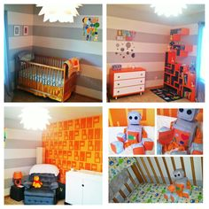Finished my robot/nerd themed nursery for the baby :-) Made the shelves, mobile, toy robot and pictures...used vinyl decals for the words on the wall...now for a baby to fill it :-) who knew pregnancy would make me crafty?