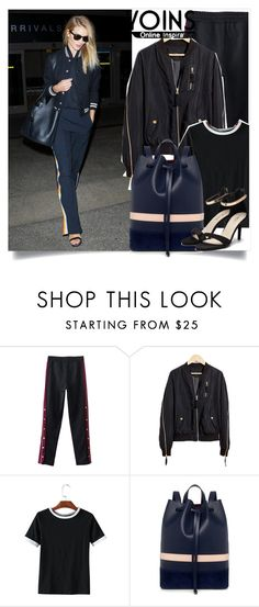 """""""Yoins:Black Zipper Stitching Bomber Jacket"""" by yoinscollection ❤ liked on Polyvore featuring Mother of Pearl"""