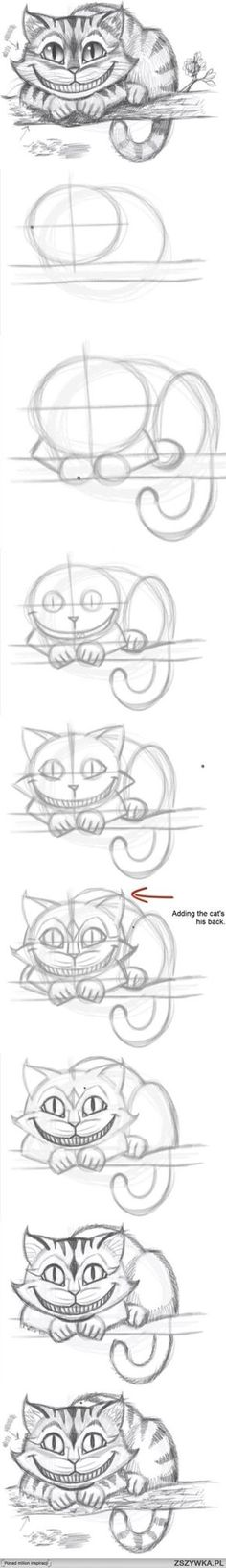 Cheshire Cat from Alice In Wonderland. How to draw the Cheshire Cat.