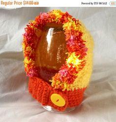 ON SALE Crochet Baby Hat Soft Yellow Orange by WildHeartYarnings