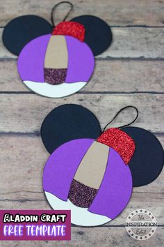 This super fun and easy Aladdin Mickey ears craft is a great disney themed christmas ornament for kifs to make and the Aladdin template is free Paper Crafts For Kids, Easy Crafts For Kids, Christmas Crafts For Kids, Preschool Crafts, Christmas Fun, Fun Crafts, Christmas Decorations, Christmas Travel, Classroom Crafts