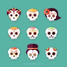 Jogo do dia dos crânios mexicanos mortos Vetor grátis