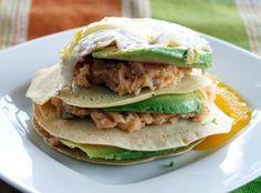 breakfast crepe recipes   Crepe Stacks with Chipotle-Potato-Avocado Filling