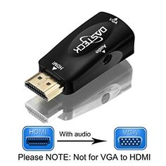 HDMI to VGA Converter, Dasteck Gold-Plated HDMI to VGA Adapter with 3.5mm Audio Port and an Audio Cable for PC, TV, Laptops, DVD Players, and Other HDMI Devices