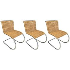 Three+MR20+Style+Rattan+and+Chrome+Side+Chairs+|+From+a+unique+collection+of+antique+and+modern+chairs+at+https://www.1stdibs.com/furniture/seating/chairs/