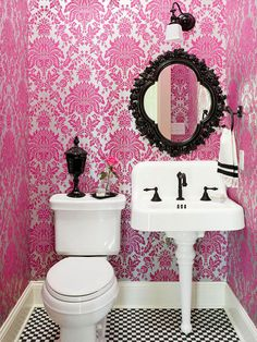 Off set colorful wallpaper with neutral accents. More small-bathroom decorating ideas: room design room design interior house design Lavabo Vintage, Vintage Sink, Vintage Glam, Bathroom Wallpaper, Damask Wallpaper, Bathroom Pink, Modern Bathroom, Bathroom Colors, Bathroom Ideas