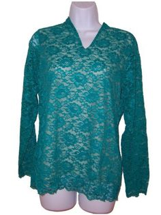 Dialogue Standing V Neck Lined Bodice Lace Top (Misses Small 6 8, Teal Green) Dialogue. $21.25. Scalloped edge along bottom hem. Modestly lined in front and back. Standing V neckline. Long sleeves. nylon. Arms are not lined. hand wash