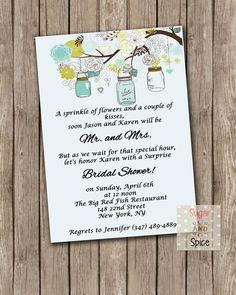 Surprise Bridal Shower Invitation Vintage Mason Jar Blue by sugspc, $15.00
