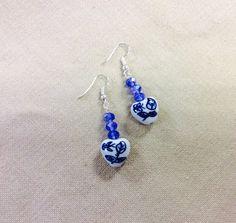Handcrafted Handbeaded Blue Ceramic Earrings