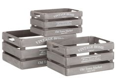 Set 3 Cajas Vintage Home Madera Gris 25 x 36 x 17 cm Wood Storage Box, Wooden Crates, French Provincial, Wood Boxes, Woodworking Crafts, Vintage Decor, Really Cool Stuff, Mason Jars, Diy Projects