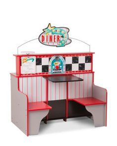 Melissa & Doug bring imagination back to everyday play. The Star Diner is a sturdy wooden play space where kids can cook and serve in a play kitchen and sit and order in a play restaurant. Toy Kitchen, Kitchen Sets, Kidkraft Kitchen, Kitchen Oven, Kitchen Corner, Kitchen Booths, Diner Restaurant, Booth Seating, Melissa & Doug