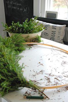 Use a hoola hoop as a base for a large wreath.