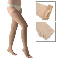 881d119f43 Thigh High 20-30mmHg Compression Stockings Therapeutic Silicone Band US  Open Toe | eBay