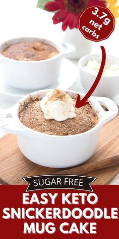 What's warm and comforting, and ready in 5 minutes? If you guessed my easy keto mug cake, you'd be right! Enjoy the sugar-free deliciousness. Banting Desserts, Low Calorie Desserts, Ketogenic Desserts, Low Carb Sweets, Low Carb Mug Cakes, Keto Mug Cake, Free Keto Recipes, Fun Baking Recipes, Keto Pudding