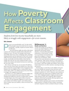 How Poverty Affects Classroom Engagement Educational Leadership - May 2013 - Page 24 So refreshing that this is getting acknowledged. Tired of hearing this shouldn't or doesn't have an effect on learning. School Leadership, Educational Leadership, Educational Administration, Leadership Activities, Educational Websites, Educational Technology, Teaching Strategies, Teaching Tips, School Social Work