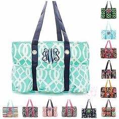 Personalized Monogram Organizing Utility Tote Bag Pocket Beach Diaper Baby Caddy