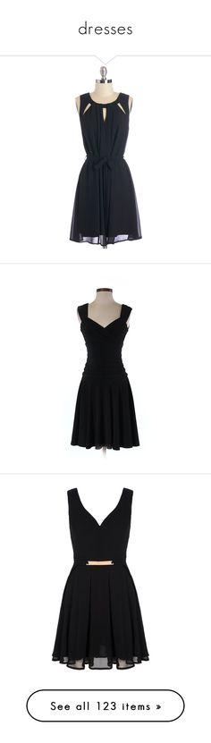 """dresses"" by tricialisha on Polyvore featuring dresses, black dress, modcloth, vestidos, apparel, black, fashion dress, a line chiffon dress, little black dress and chiffon dresses"