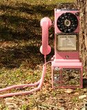 retro pink payphone! modeled after the 1950s payphone!!! this baby actually works!!! has a faux rotary dial...but is actually push...
