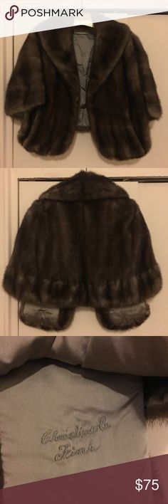 Dark. Down mink stole Vintage dark brown mink stole Jackets & Coats Capes