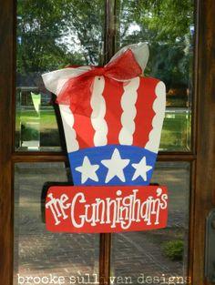 Uncle Sam's 4th of July Hat Door Hanger by brookesullivan on Etsy, $40.00