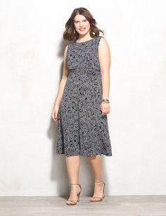 Plus Size Floral Swirl Ruched Dress | dressbarn