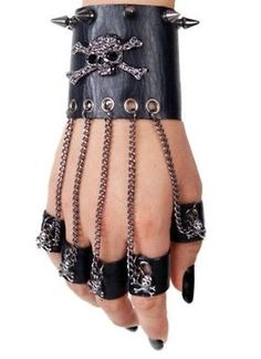 """Details about Punk Rave Gothic Synthetic Leather Unisex Neutral Rivet Fingerless Skull Glove """"Skull"""" Bracelet/Ring Connected Combo. Punk Outfits, Gothic Outfits, Fashion Outfits, Fashion Tips, Fashion Ideas, Fashion Clothes, Style Fashion, Emo Clothes, Batman Outfits"""