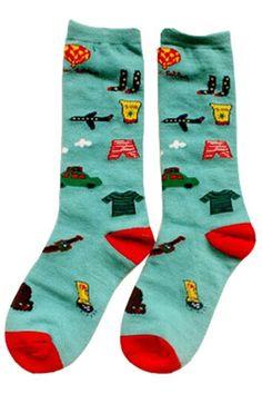 Cars and Planes Pattern Aqua Socks