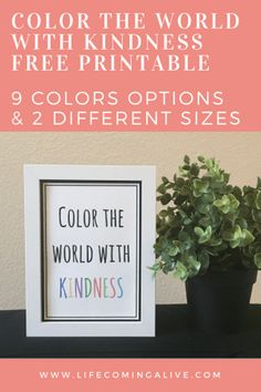 Color the World with Kindness FREE printable
