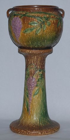 Roseville Pottery....Wisteria jardiniere and pedestal....wow, what a beauty