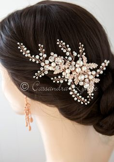 This gorgeous bridal headpiece is a spray of rhinestones, jeweled leaves and ivory pearls. It is elegant and dramatic! On a pinch style clip it is about 5 inches long and inches high. Available in silver with ivory pearls or rose gold with ivory pearls. Braid Accessories, Wedding Hair Accessories, Bridal Hair Ornaments, Wedding Hair Clips, Wedding Stuff, Bride Headband, Bridal Brooch Bouquet, Dress Hairstyles, Wedding Hairstyles