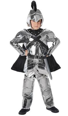 Dragons fly and evil knights gallop from Hero Knight, whose real identity is shielded by a soft, foam-backed helmet above a caped and armored top. Top is easy to put on, with hook-and-loop closures up the back. Knight's trousers have an elastic waist.