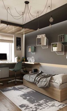 modern and minimalist bedroom design ideas 32 Kids Room Design, Home Office Design, Room Interior, Interior Design, Interior Livingroom, Teenage Room, Minimalist Bedroom, New Room, Bedroom Decor
