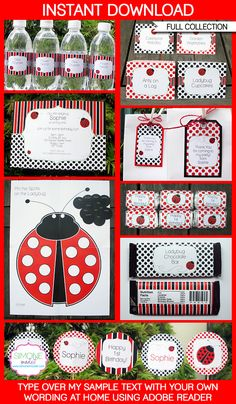 Ladybug Party Printables, Invitations & Decorations | Ladybird Party | Editable Birthday Party Theme Templates | INSTANT DOWNLOAD $12.50 via SIMONEmadeit.com