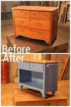 Turn a chest of drawers into a kitchen island.  Love this!