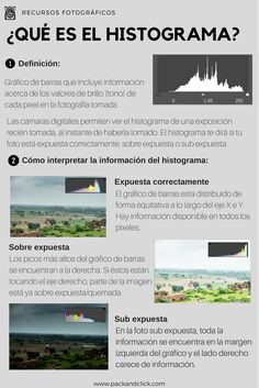 Aprende qué es un histograma y cómo esta herramienta te puede ayudar a sacar mejores fotos, correctamente expuestas. #fotografia #histograma #conceptos #basicos Dslr Photography Tips, Photography Cheat Sheets, Photography Challenge, Photography Lessons, Photography Tutorials, Photography Studios, Photography Lighting, London Photography, Product Photography