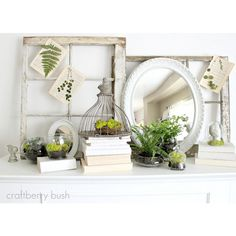 5 Spring Mantel Decorating Tips {Roundup} ❤ liked on Polyvore featuring backgrounds and pictures