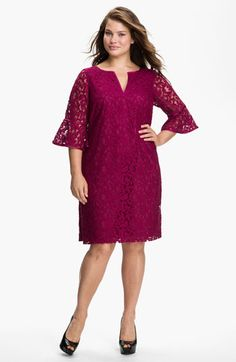 Adrianna Papell Satin Trim Lace Shift Dress (Plus) available at #Nordstrom