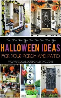 Boo-tiful Porch Halloween Ideas and Patio Inspiration – Inspiring Porch Halloween Ideas and Patio Inspiration for the October season. Outdoor Home Decorating Ideas to give you a friendly or scary Halloween home decor on Frugal Coupon Living. Halloween Veranda, Farmhouse Halloween, Halloween Home Decor, Halloween Crafts, Diy Outdoor Halloween Decorations, Dollar Store Halloween, Halloween Fotos, Spooky Halloween, Holidays Halloween