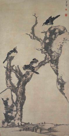 Zhu Da(朱耷) or Bada Shanren(八大山人) ,   枯木寒鸦图 故宫博物院藏. 八大长于水墨写意,这是宋元以来兴起的一种画法。发展到明清时代,出现了许多文人水墨画写意大师,八大为其划时代的人物。 在水墨写意画中,又有专擅山水和专擅花鸟之别,八大则两者兼而善之。他的山水画,近师董其昌,远法董源、巨然、郭熙、米芾、黄公望、倪瓒诸家。例如康熙四十一年所作《书画册》(上海博物馆藏)共画了六幅山水小品,就可以看出深受董其昌的影响,其远笔的圆润则有着董、巨和黄公望的遗踪,墨法参照了米氏云山,而某些树石的组合形式,显然取自倪瓒。但是,我们在欣赏这些作品时 ,却又强烈地感觉到朱耷的个性,上述那些古人的法则,不过是他随手拈来为自己服务的。那些山、石、树、草,以及茅亭、房舍等,逸笔草草,看似漫不经心,随手拾掇,而干湿浓淡、疏密虚实、远近高低,笔笔无出法度之外,意境全在法度之中。这种无法而法的境界,是情感与技巧的高度结合,使艺术创作进入到一个自由王国。